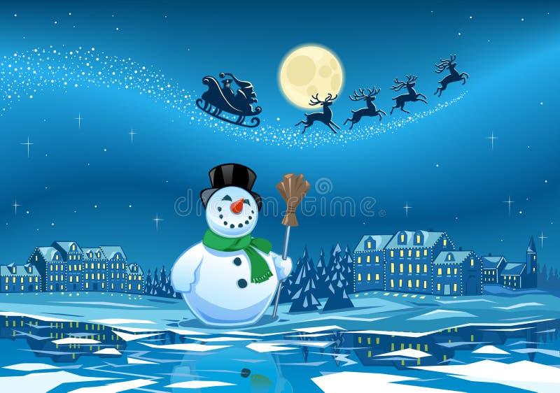 Boneco de neve e Santa Klaus ilustração do vetor