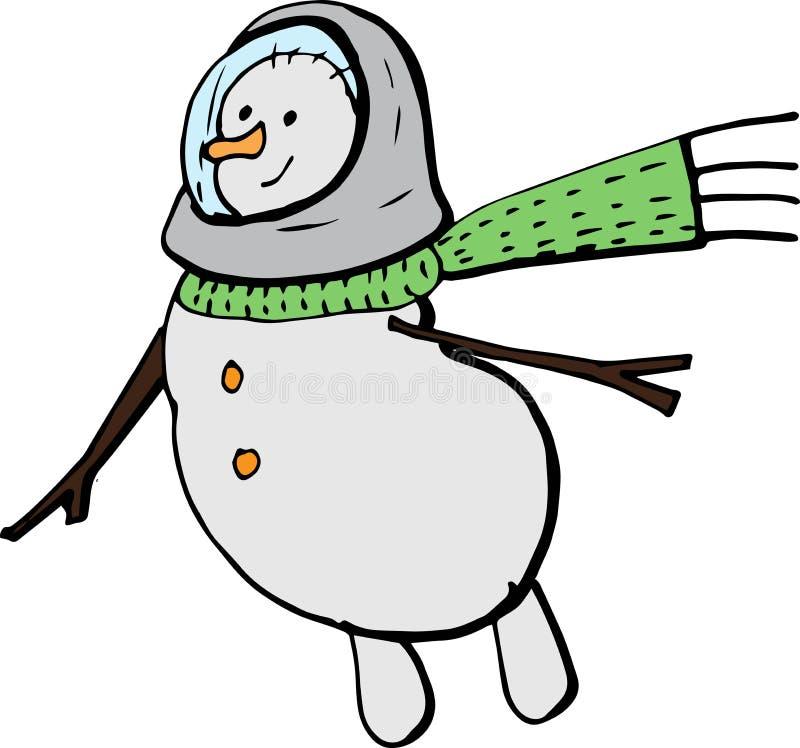Boneco de neve em um lenço verde, voo dos desenhos animados em um spacesuit ilustração do vetor para cartazes, cópias e wallpaper fotos de stock