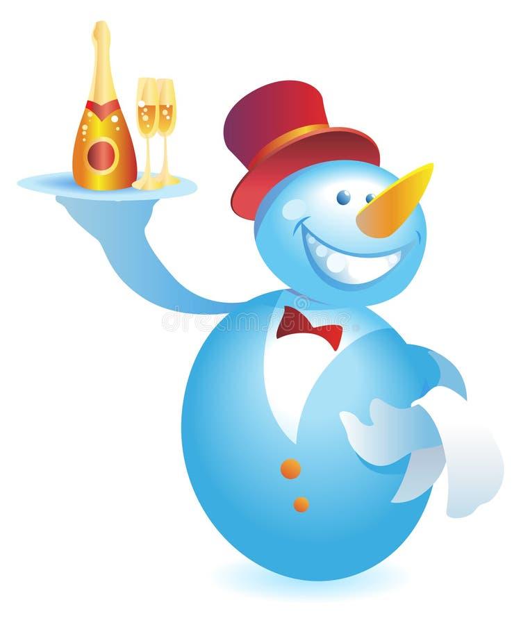 Boneco de neve-empregado de mesa com champanhe ilustração stock