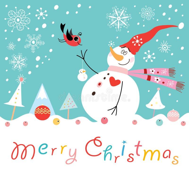Boneco de neve engraçado do cartão com um pássaro ilustração stock