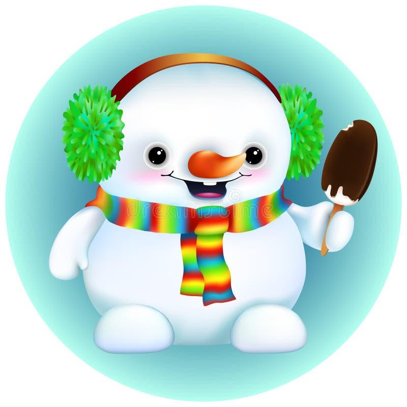 Boneco de neve engraçado em capas protetoras para as orelhas peludos, lenço do arco-íris ilustração royalty free