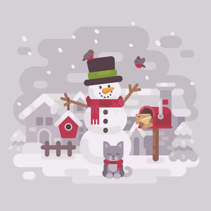 Boneco de neve feliz em um chapéu e em um lenço com um gatinho, uma caixa postal e um aviário bonitos ilustração stock