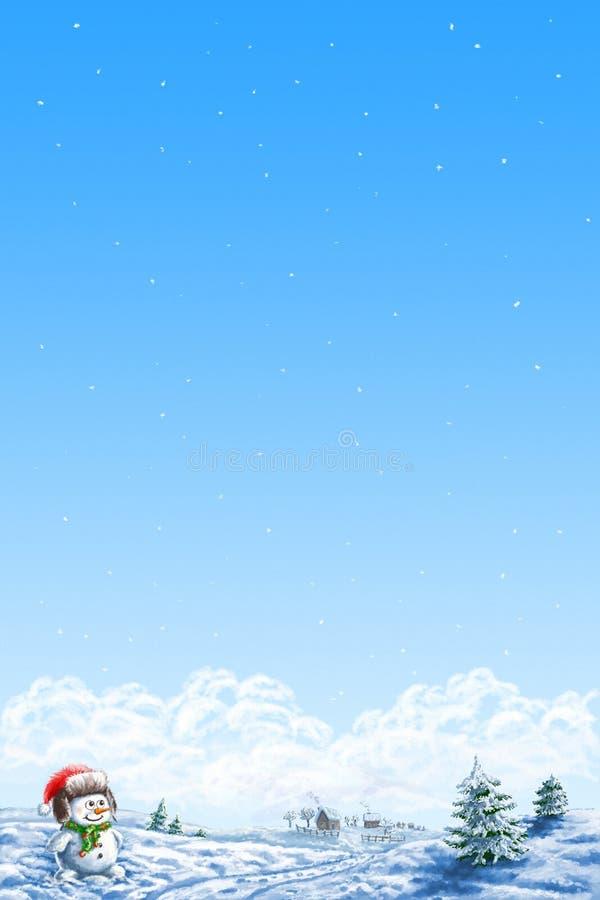 Boneco de neve feliz no chapéu ilustração do vetor