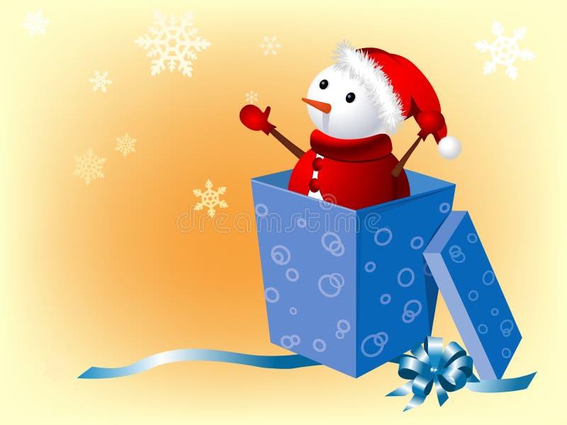 Boneco de neve na caixa de presente ilustração royalty free