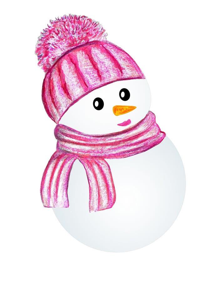Boneco de neve na cor-de-rosa imagens de stock