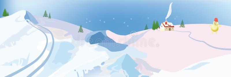 Boneco de neve na paisagem do inverno com casas de campo foto de stock royalty free