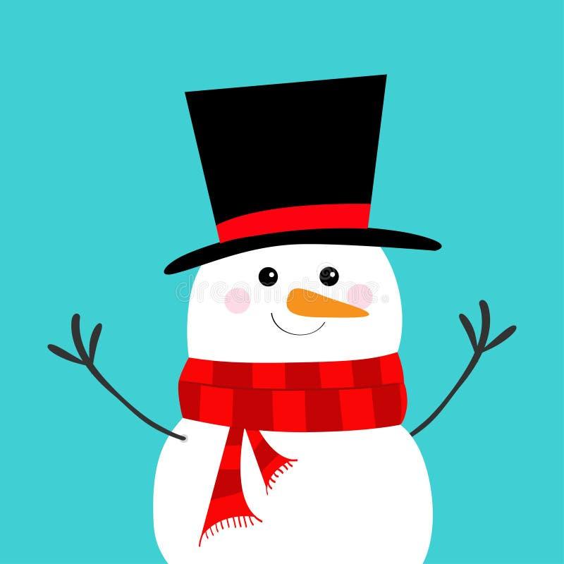 Boneco de neve, nariz da cenoura, chapéu negro, lenço vermelho Feliz Natal Caráter engraçado do kawaii dos desenhos animados boni ilustração do vetor