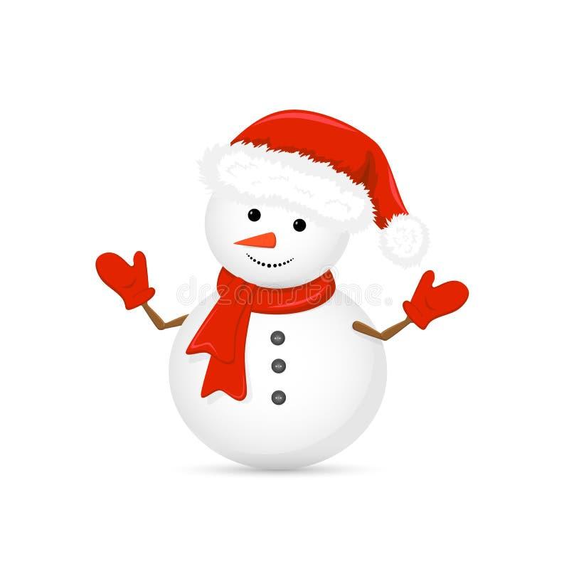 Boneco de neve no chapéu de Santa e no lenço vermelho ilustração stock