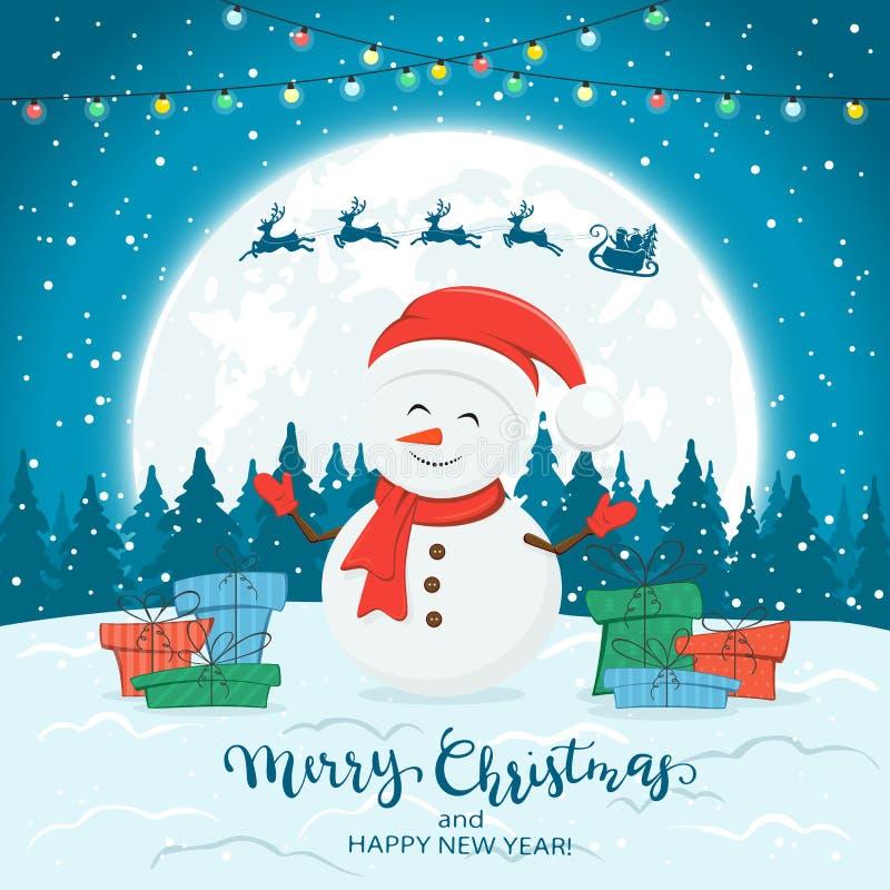 Boneco de neve no fundo azul do inverno com presentes e luzes de Natal ilustração stock