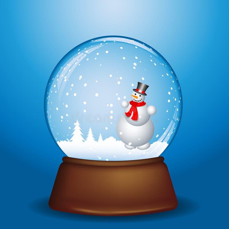 Boneco de neve no globo da neve ilustração stock
