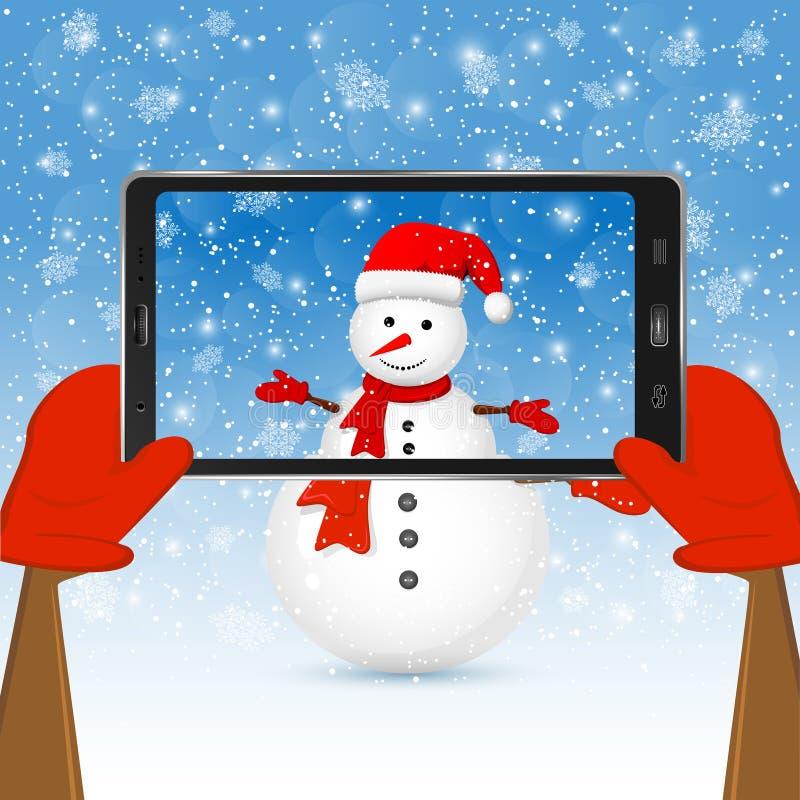 Boneco de neve no telefone ilustração do vetor