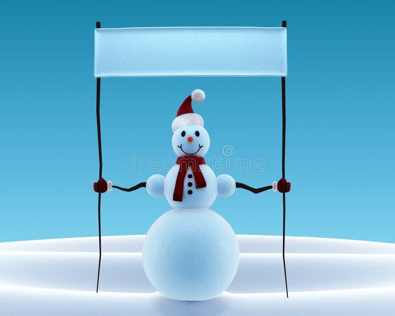 Boneco de neve que bandeira ilustração stock