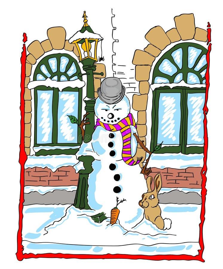 Boneco de neve que inclina-se contra um poste de luz com um coelho ilustração do vetor