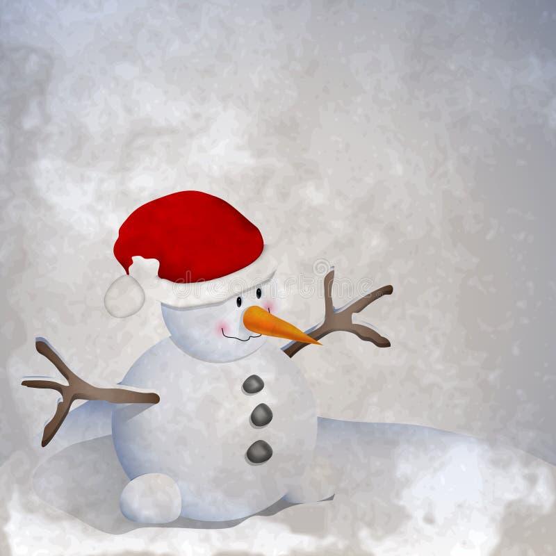 Boneco de neve retro ilustração stock