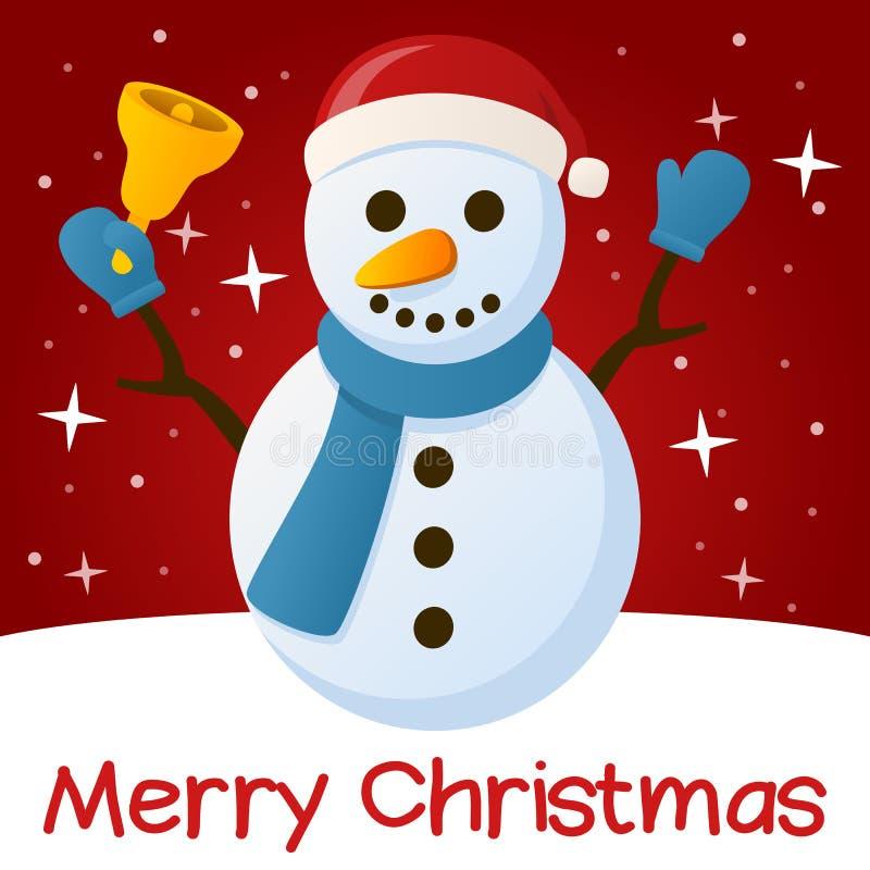 Boneco de neve vermelho do cartão de Natal ilustração do vetor