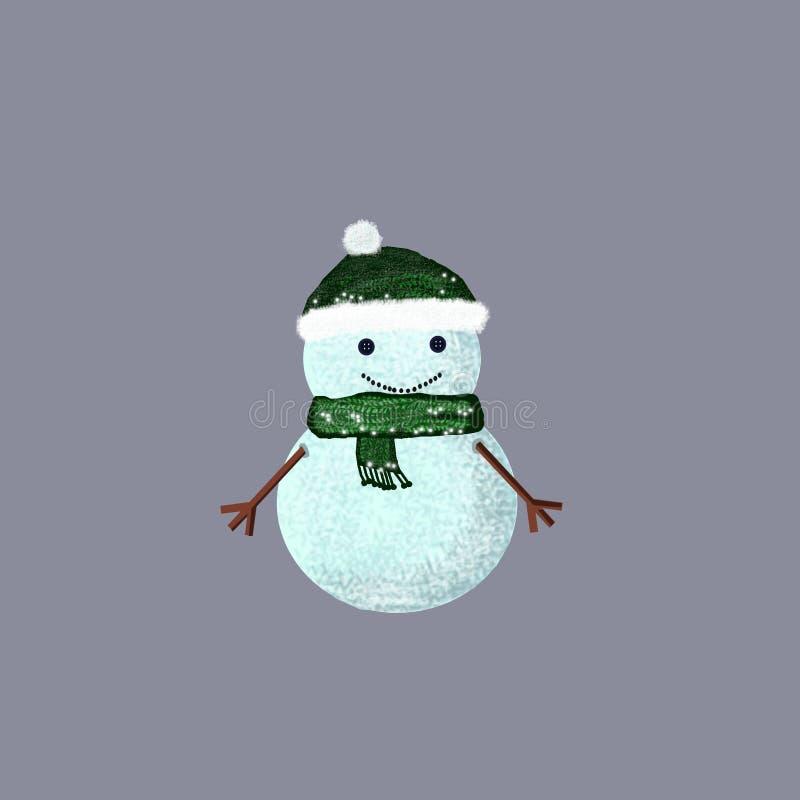 Boneco de neve vestido no tampão e no lenço feitos malha foto de stock royalty free