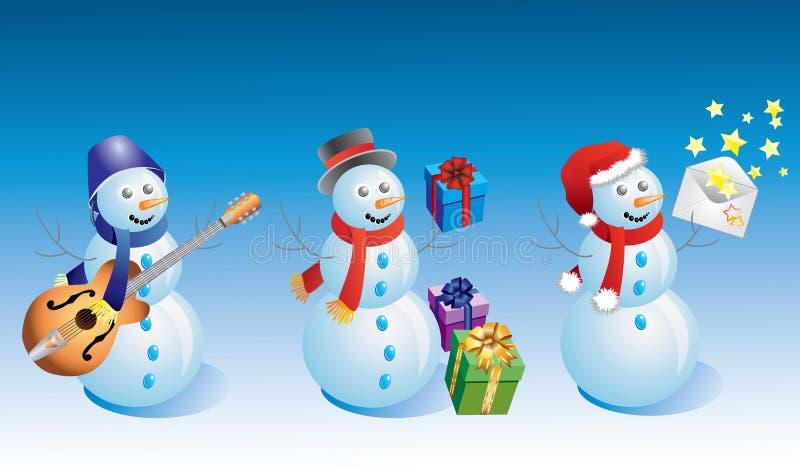 Bonecos de neve. ilustração royalty free