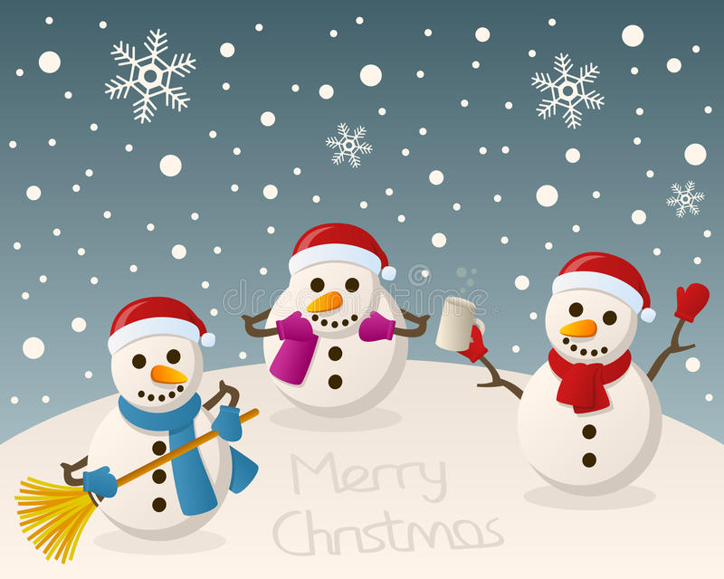 Bonecos de neve bêbados na neve ilustração do vetor