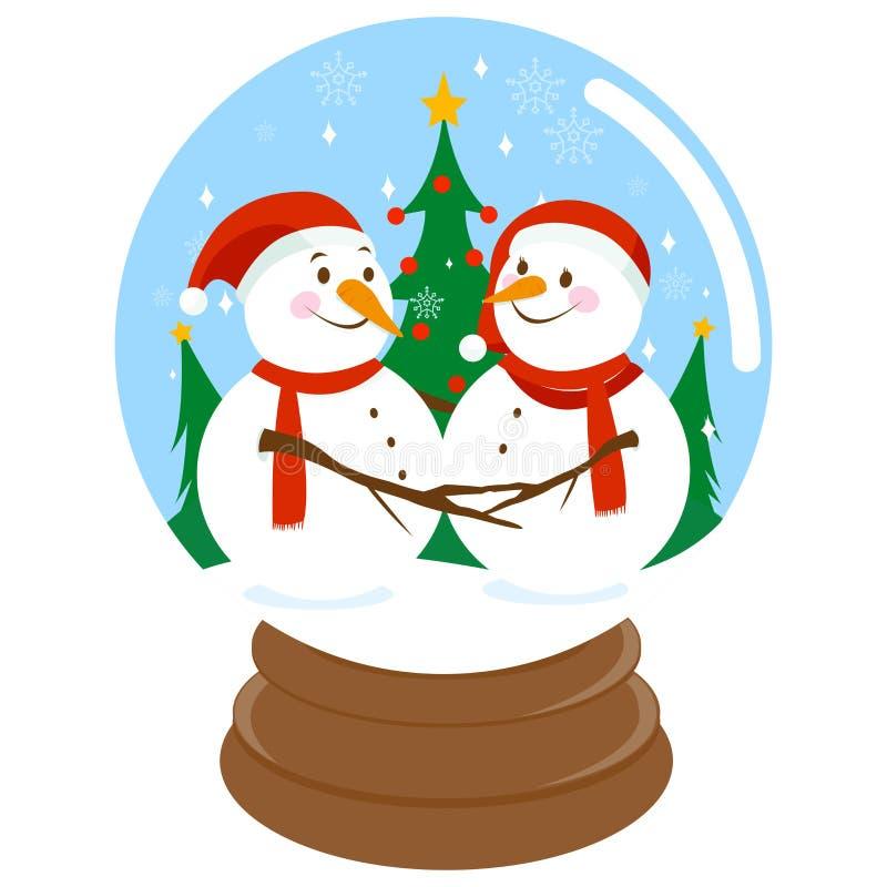 Bonecos de neve bonitos do Natal dentro de um snowglobe ilustração royalty free