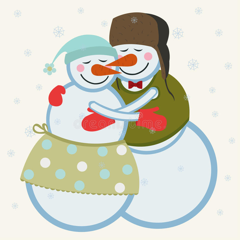 Bonecos de neve do amor ilustração royalty free