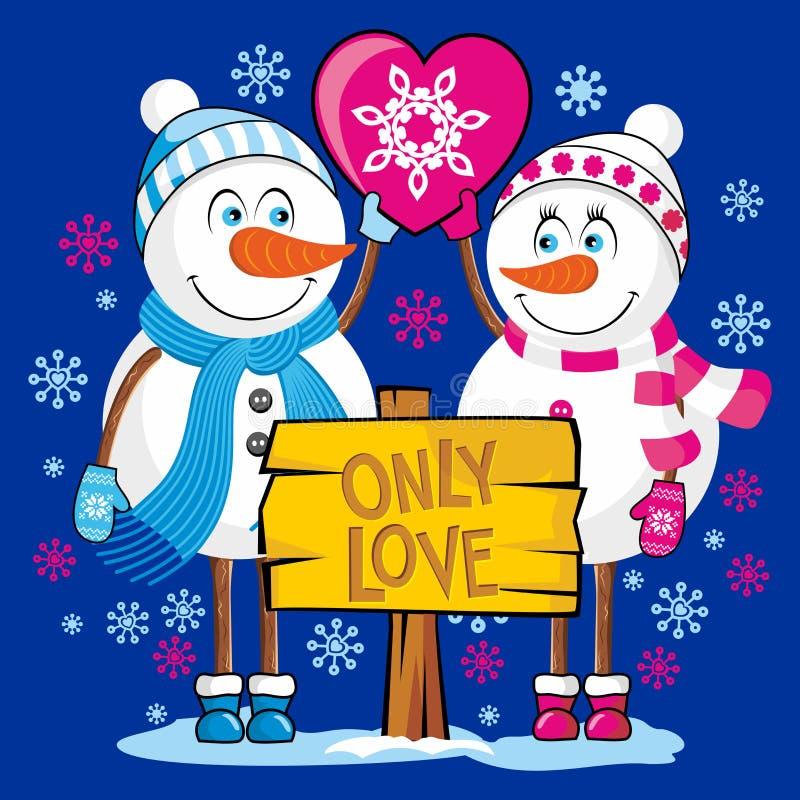 Bonecos de neve dos amantes Somente amor ilustração do vetor