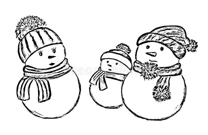 Bonecos de neve em um fundo branco fotos de stock royalty free