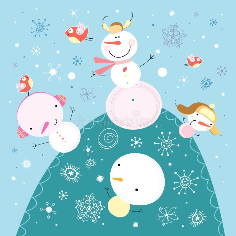 Bonecos de neve engraçados ilustração royalty free