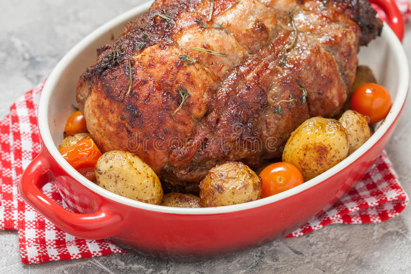 Boneless Pork Loin Roast with potatoes royalty free stock photography