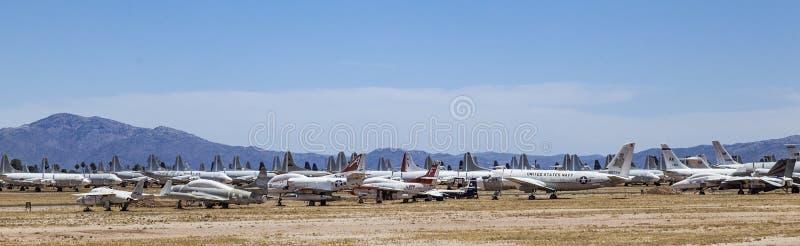 Boneyard de la base aérienne AMARG de Davis-Monthan dans Tucson, Arizona images libres de droits