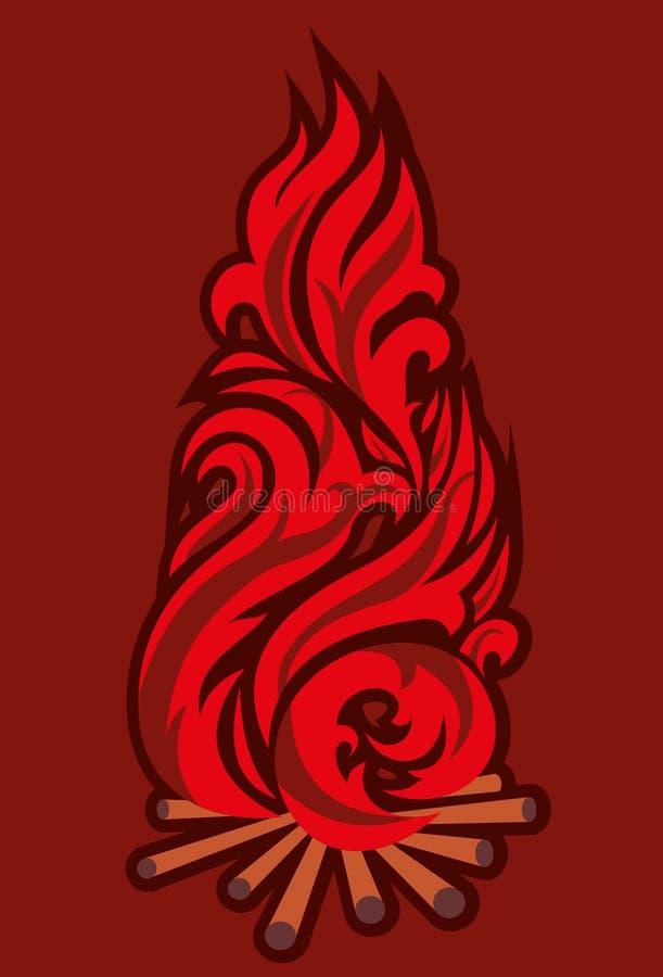 Bonfire. Scene big campfires with red blaze stock illustration