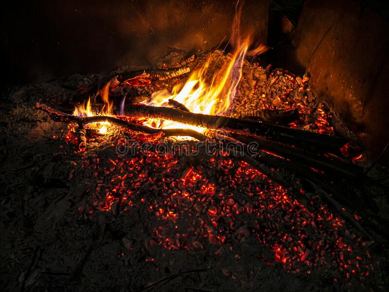 Bonfire and balefire. Village life. Abandoned places. Forgotten people. natural living. royalty free stock photo