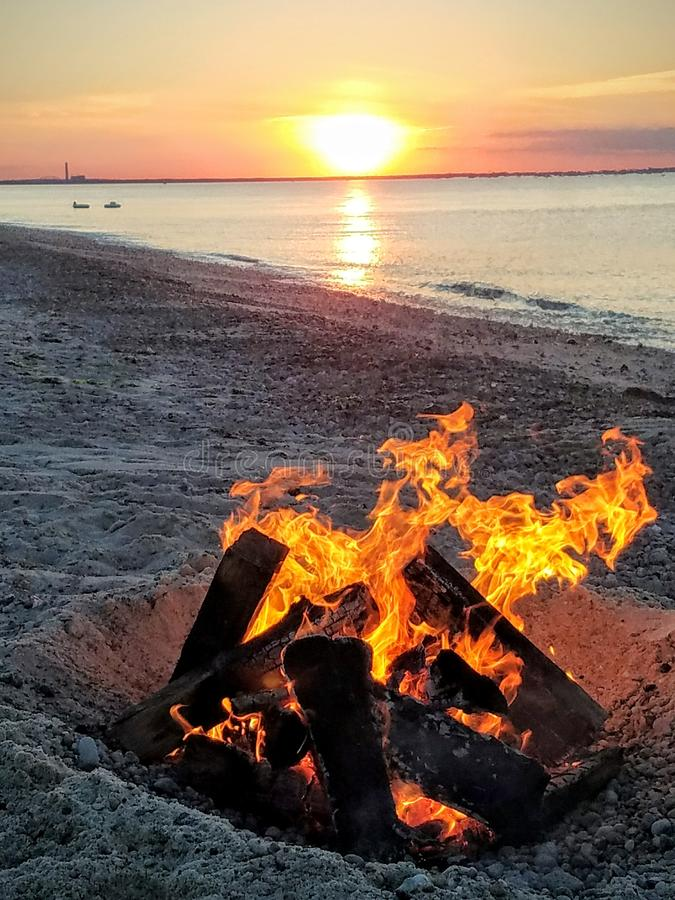 Bonfire on the beach stock photo