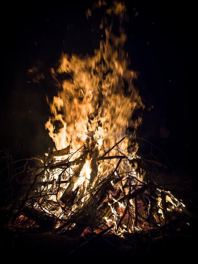Bonfire burning stock images