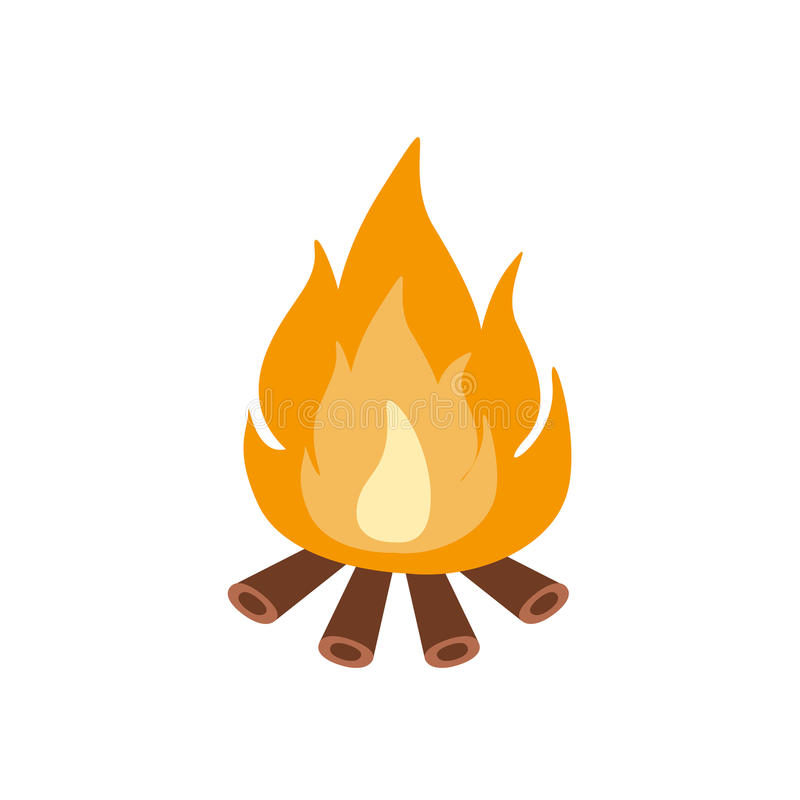 Bonfire Burning On Firewood In The Camp, Camping And Hiking Outdoor Tourism Related Item Isolated Vector Illustration. Part Of Forest Touristic Adventures stock illustration