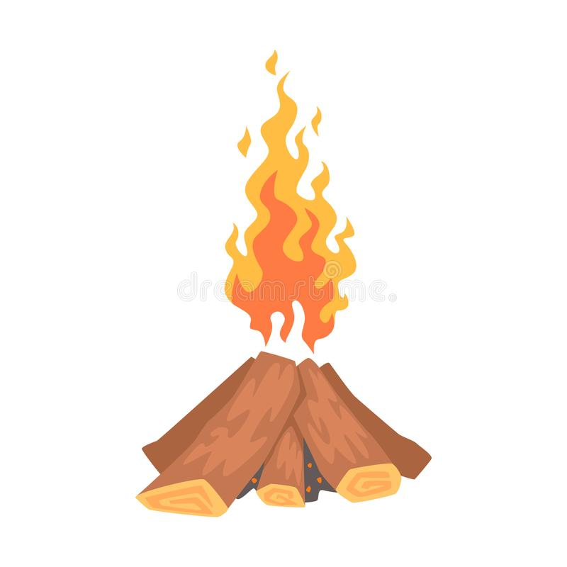 Bonfire, campfire logs burning cartoon vector Illustration stock illustration