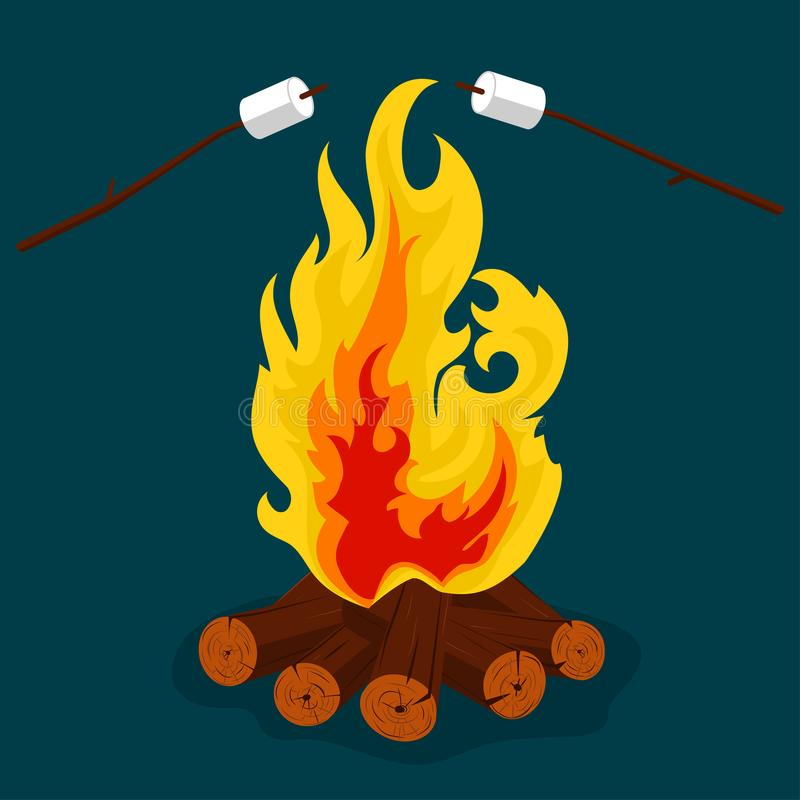 Free Bonfire - Camping, Burning Woodpile, Campfire Or Fireplace. Vector Royalty Free Stock Images - 108920309