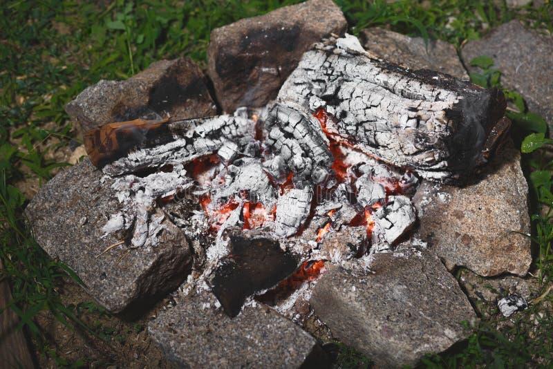Bonfire in the evening, barbecue coals stock photos