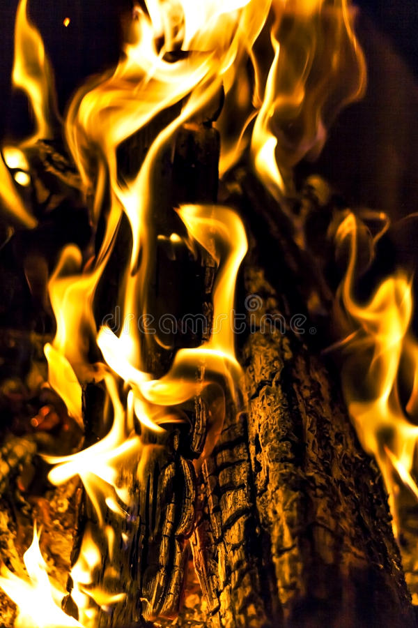bonfire, fire, logs close up at night stock images