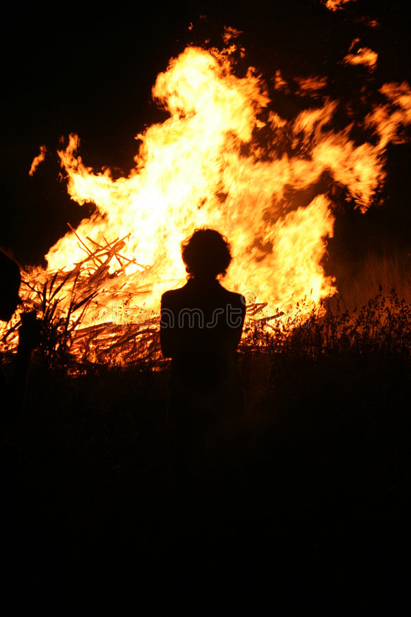 Bonfire with human silhouette