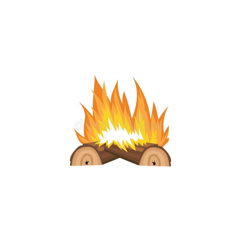 Bonfire icon with bright orange flame and two logs of brown wood on fire vector illustration