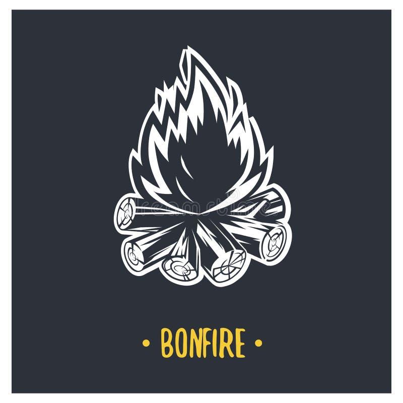 bonfire Ilustração preto e branco fotografia de stock