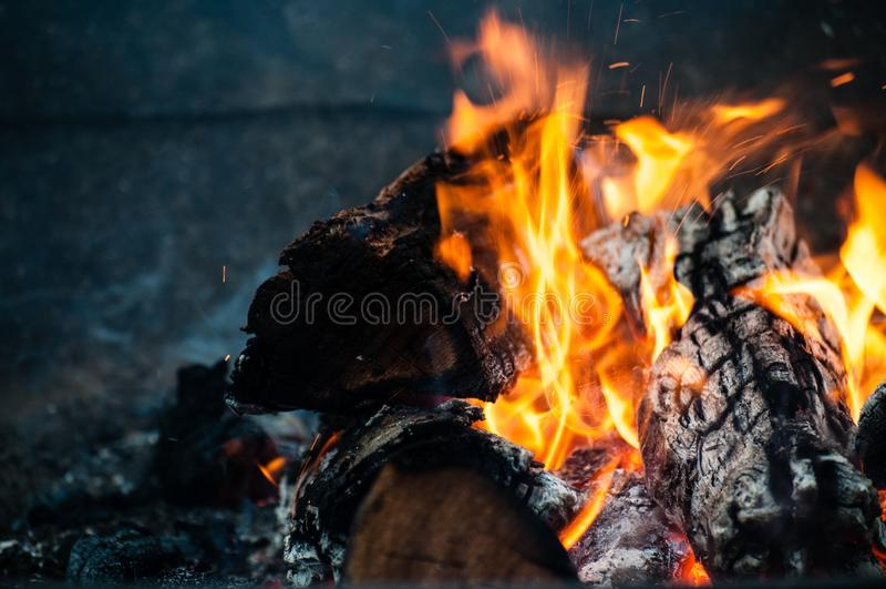 Bonfire logs in flames stock image
