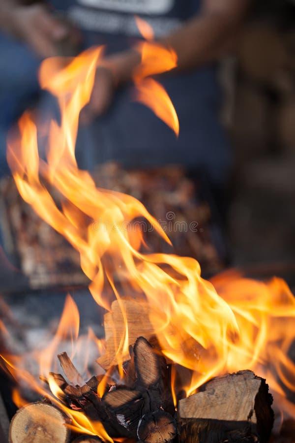 bonfire Madeira do incêndio Grelhando e cozinhando o fogo Woodfire com chamas fotografia de stock royalty free