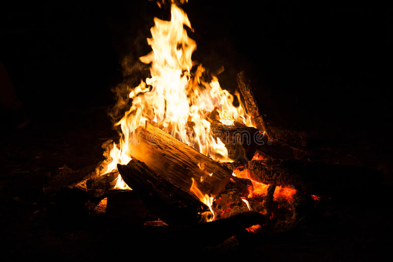 Bonfire in the nature. Camping. Healthy tourism stock photography