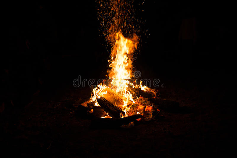 Bonfire in the nature. Camping. Healthy tourism stock photo