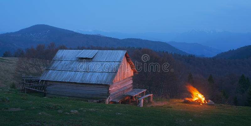 Bonfire near the house royalty free stock images