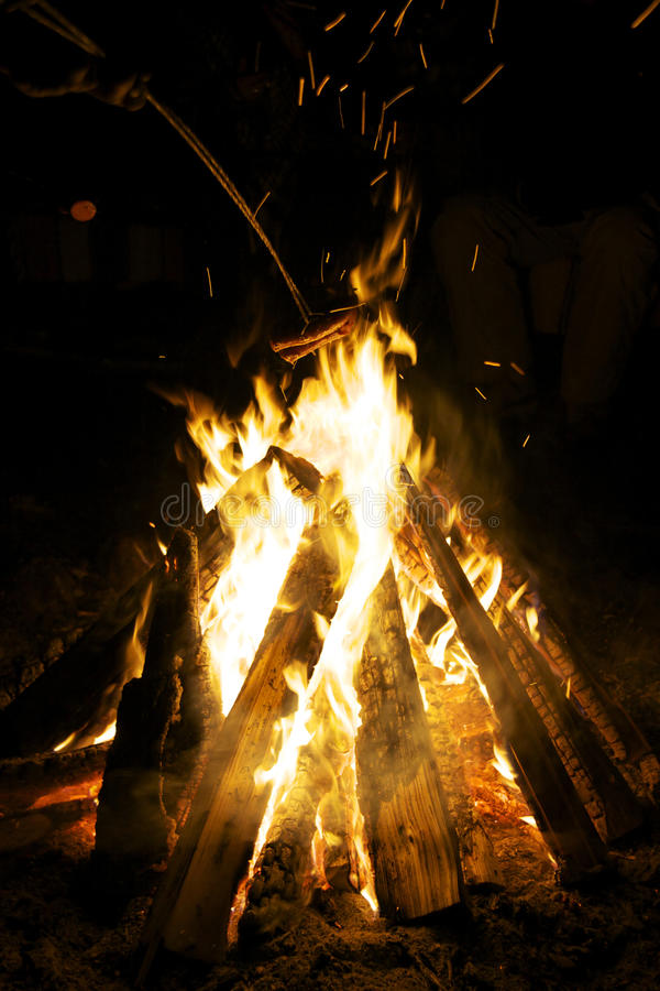 Bonfire at night stock images
