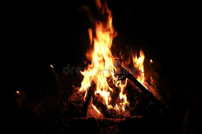 Bonfire at night and candles stock photos