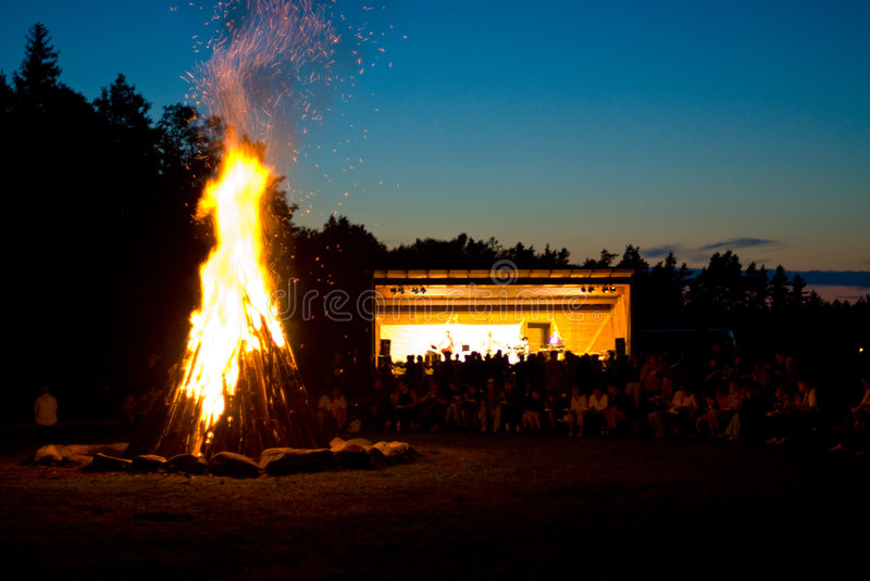 Bonfire at outdoor concert royalty free stock photo