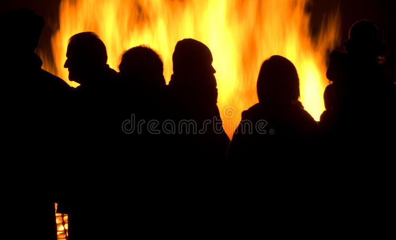 Download Bonfire Party stock photo. Image of orange, flames, cold - 16925986